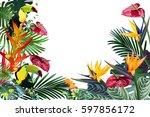 toucans and strelitzia   in... | Shutterstock .eps vector #597856172