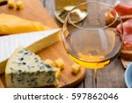 white wine and different... | Shutterstock . vector #597862046