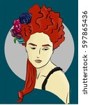 Woman With Flowers In Red Hair...