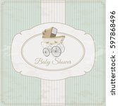 vintage baby shower invitation... | Shutterstock .eps vector #597868496