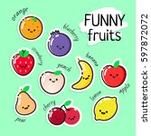 collection of vector fruits...   Shutterstock .eps vector #597872072