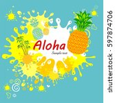 summer greeting card with... | Shutterstock .eps vector #597874706