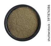 heap of ground black pepper in...   Shutterstock . vector #597876386