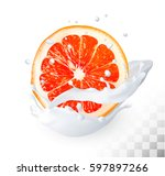 the ripe grapefruit in a milk...   Shutterstock .eps vector #597897266