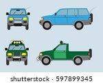 car pickup truck double  vector ... | Shutterstock .eps vector #597899345