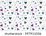 raster hearts love handmade...   Shutterstock . vector #597911036