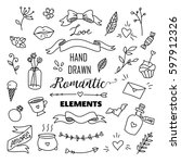 Stock vector big set of romantic style hand drawn elements with banners badges flowers leaves arrows 597912326