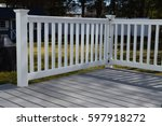 white vinyl fence on deck | Shutterstock . vector #597918272
