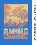 aloha hawaii. hand lettering... | Shutterstock .eps vector #597919376