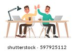 teamwork. office workers give... | Shutterstock .eps vector #597925112