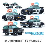 cartoon police cars isolated on ... | Shutterstock .eps vector #597925382