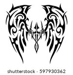 wings tattoo in tribal art... | Shutterstock .eps vector #597930362
