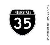 interstate highway 35 road sign ... | Shutterstock .eps vector #597937748