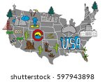 illustrated usa map   hand... | Shutterstock .eps vector #597943898