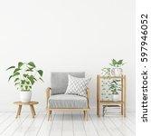 white livingroom interior in... | Shutterstock . vector #597946052