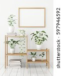 horizontal poster mock up in... | Shutterstock . vector #597946592