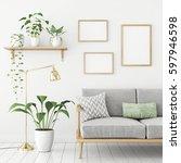 three frames poster mock up in... | Shutterstock . vector #597946598
