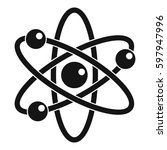 atom with electrons icon.... | Shutterstock . vector #597947996