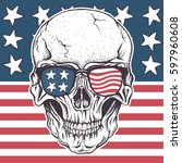 american skull in sunglasses on ... | Shutterstock .eps vector #597960608