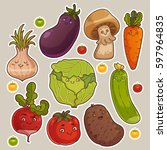collection of cute vegetable... | Shutterstock .eps vector #597964835