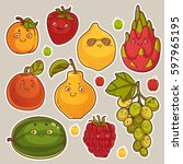 collection of cute fruit... | Shutterstock .eps vector #597965195