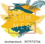 hello summer vector poster with ... | Shutterstock .eps vector #597973736