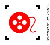 film circular sign. vector. red ...   Shutterstock .eps vector #597978518