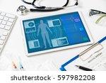 vital signs in tablet screen ... | Shutterstock . vector #597982208