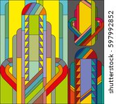 art deco vector colored... | Shutterstock .eps vector #597992852