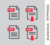 pdf file download icon.... | Shutterstock .eps vector #597994202