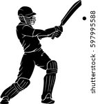 cricket player bat swing | Shutterstock .eps vector #597995588