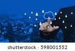 businessman pressing cloud... | Shutterstock . vector #598001552