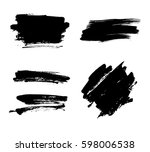 set of black paint  ink brush... | Shutterstock .eps vector #598006538