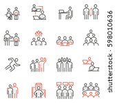 vector set of 16 linear quality ... | Shutterstock .eps vector #598010636