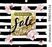 """spring sale"" hand written...   Shutterstock . vector #598014116"