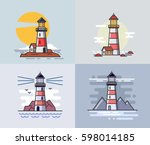 Vector illustration of flat design lighthouse set