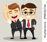 businessman with hands up.... | Shutterstock .eps vector #598036766
