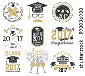set of graduation class of 2017 ... | Shutterstock .eps vector #598036988