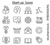 start up icon set in thin line... | Shutterstock .eps vector #598040696