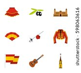spanish elements icons set.... | Shutterstock .eps vector #598063616