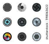 camera lens aperture icons set. ... | Shutterstock .eps vector #598063622