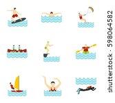 summer sport icons set. flat... | Shutterstock .eps vector #598064582