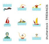 boating and swimming icons set. ... | Shutterstock .eps vector #598064636