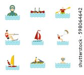 water sports icons set. flat... | Shutterstock .eps vector #598064642