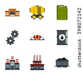 oil and petrol icons set. flat... | Shutterstock .eps vector #598072142