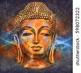 head of lord buddha digital art ... | Shutterstock . vector #598072322