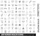 100 human health icons set in... | Shutterstock . vector #598075592