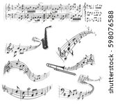 six abstract musical scores.... | Shutterstock .eps vector #598076588