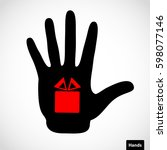 black hand and gift box sign on ... | Shutterstock .eps vector #598077146
