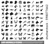 100 animals icons set in simple ... | Shutterstock . vector #598077662
